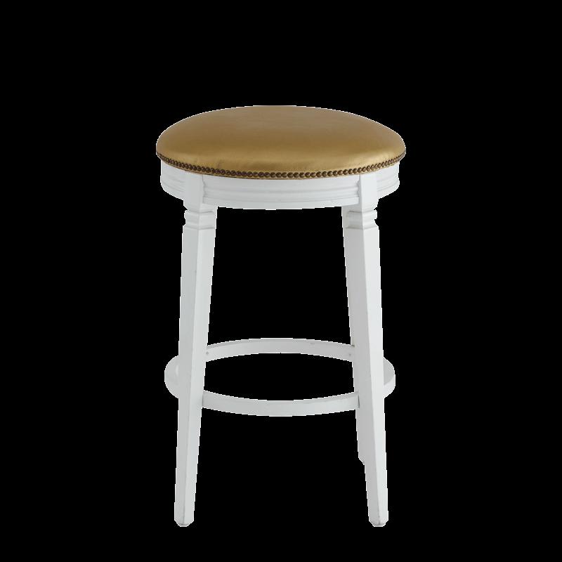 Beli Bar Stool White with Gold Seat Pad