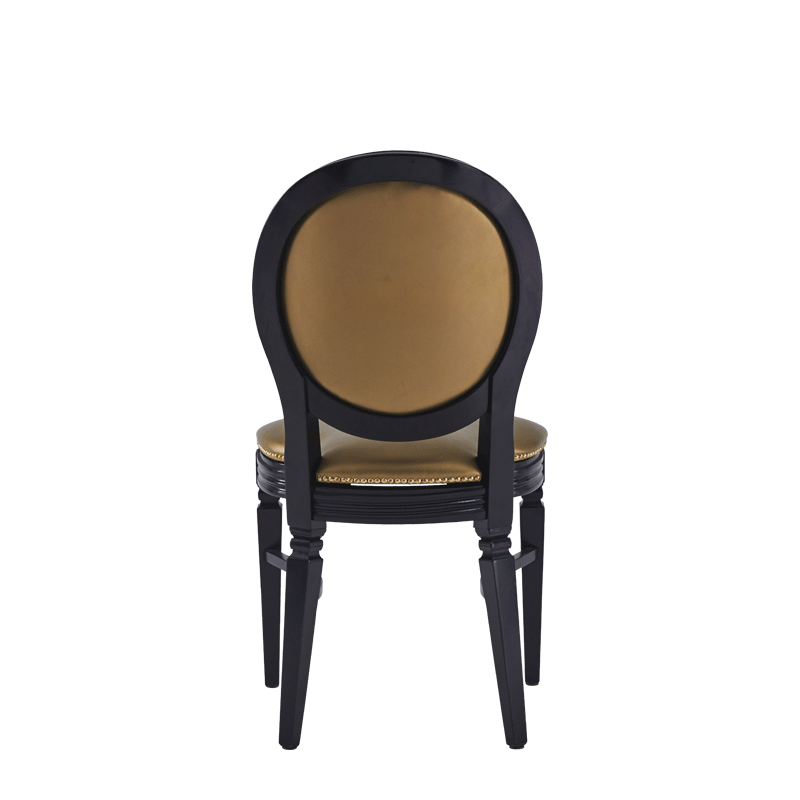 Chandelle Chair in Black with Gold Seat Pad