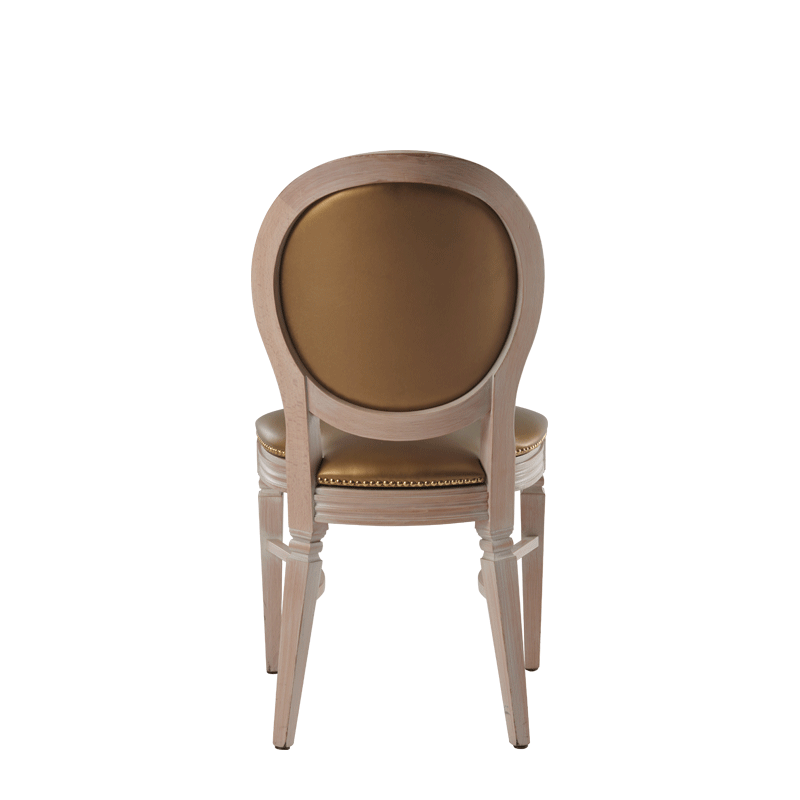 Chandelle Chair in Ivory with Gold Seat Pad