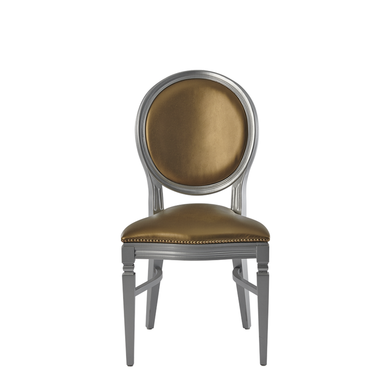 Chandelle Chair in Silver with Gold Seat Pad