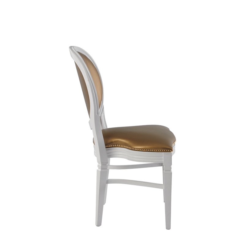Chandelle Chair in White with Gold Seat Pad