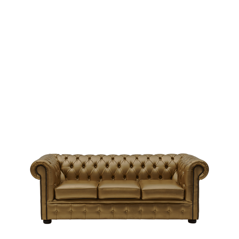 Chesterfield Leather Sofa in Gold 7ft