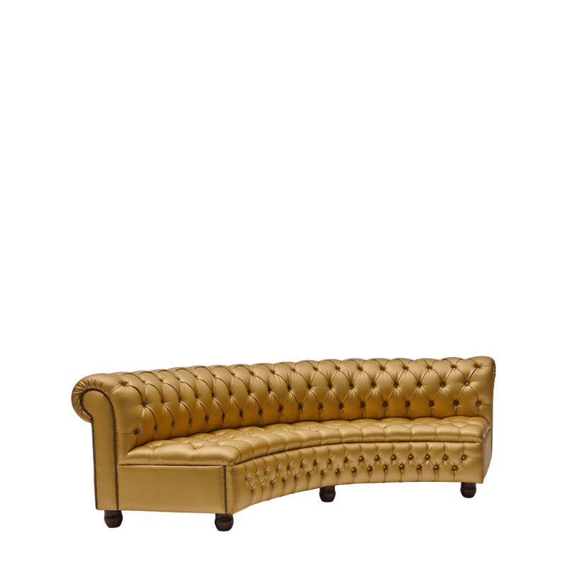 Chesterfield Curved Sofa in Gold