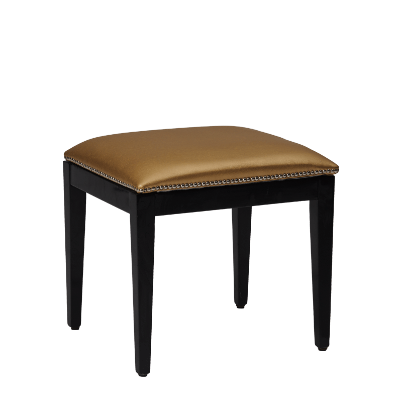 Divano Ottoman in Black with Gold Seat Pad