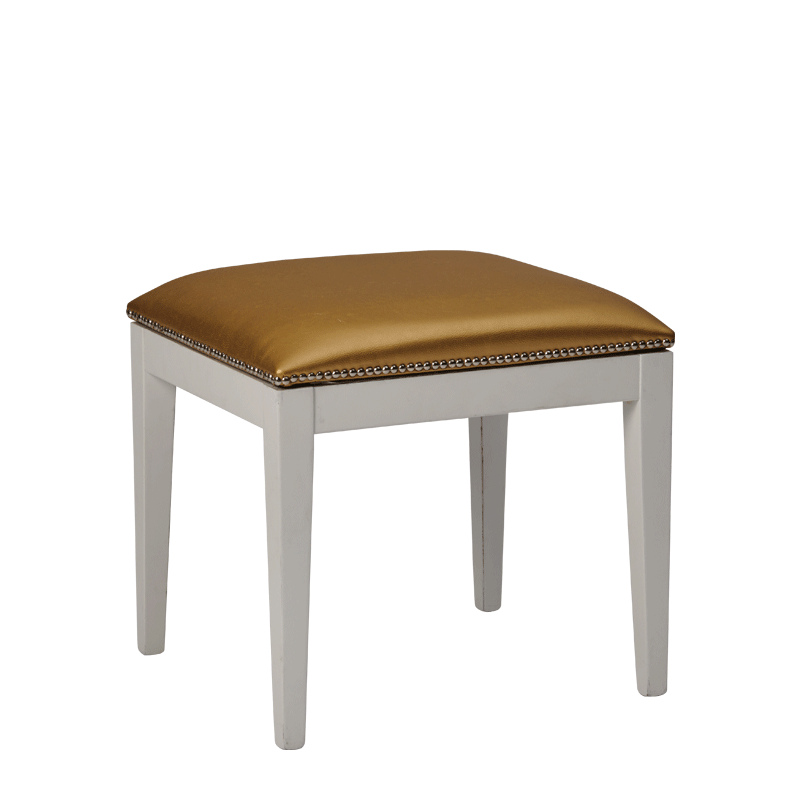 Divano Ottoman in White with Gold Seat Pad