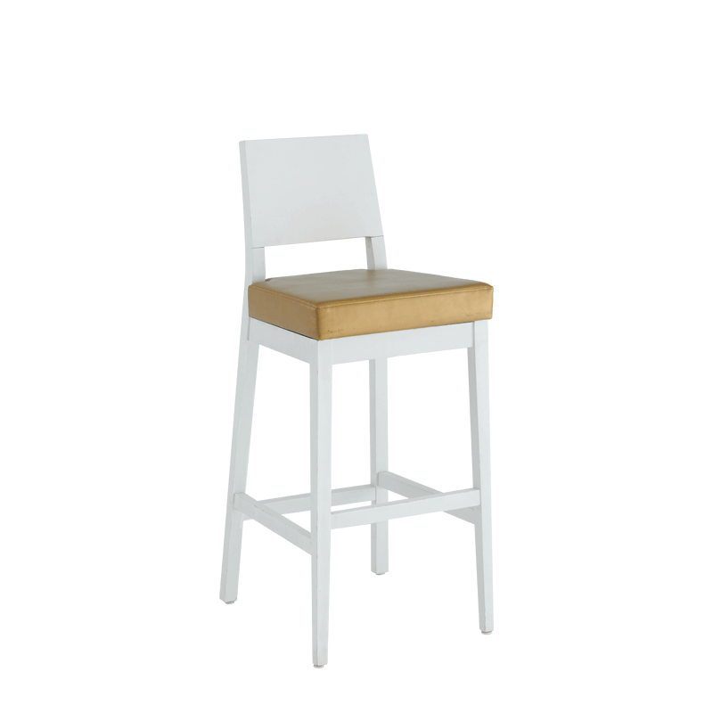 Porcino Bar Stool in White with Gold Seat Pad