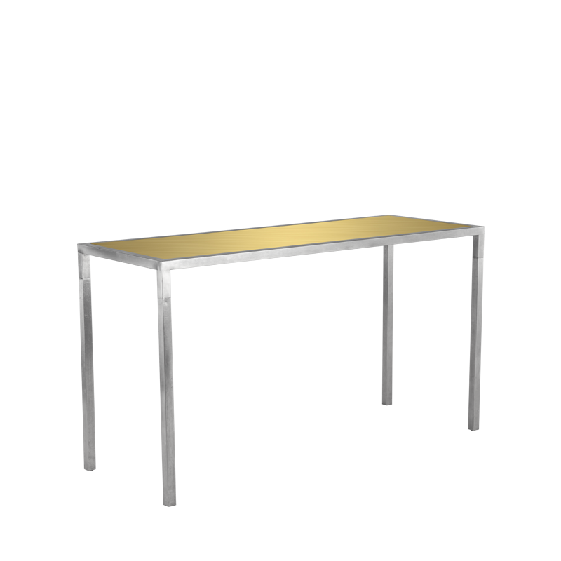 Unico Rectangular Poseur Table - Stainless Steel Frame - Gold Top