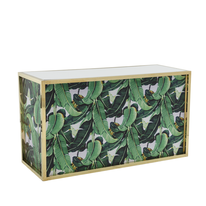 Unico Rectangular Bar with Gold Frame and Palm Leaf Print Panels