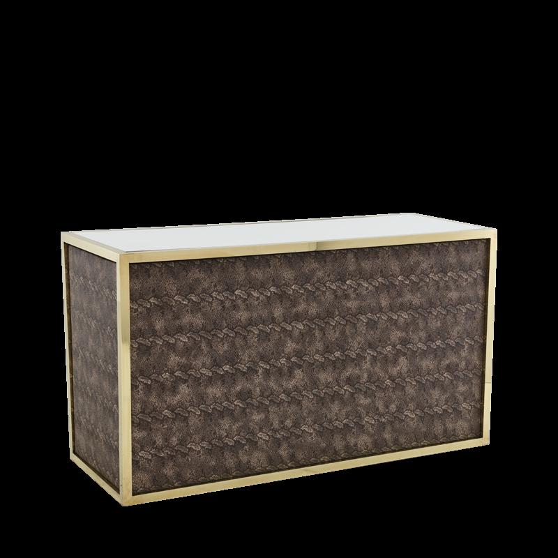 Unico Bar - Gold Frame - Taupe Upholstered Snake Skin Panels