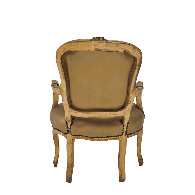 Louis Armchair in Gold with Gold Gilt Seat Pad