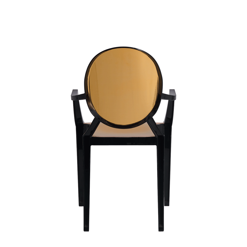 Louis Ghost Armchair in Black with Gold Vinyl Seat Pad