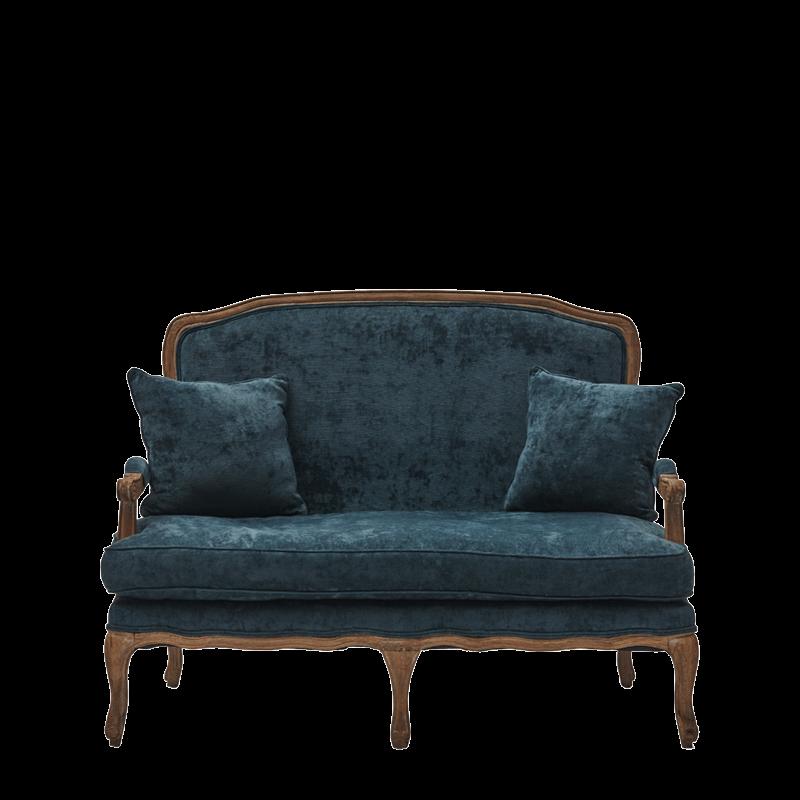 Paris Settee Sofa in Oak upholstered in Blue Azzuro