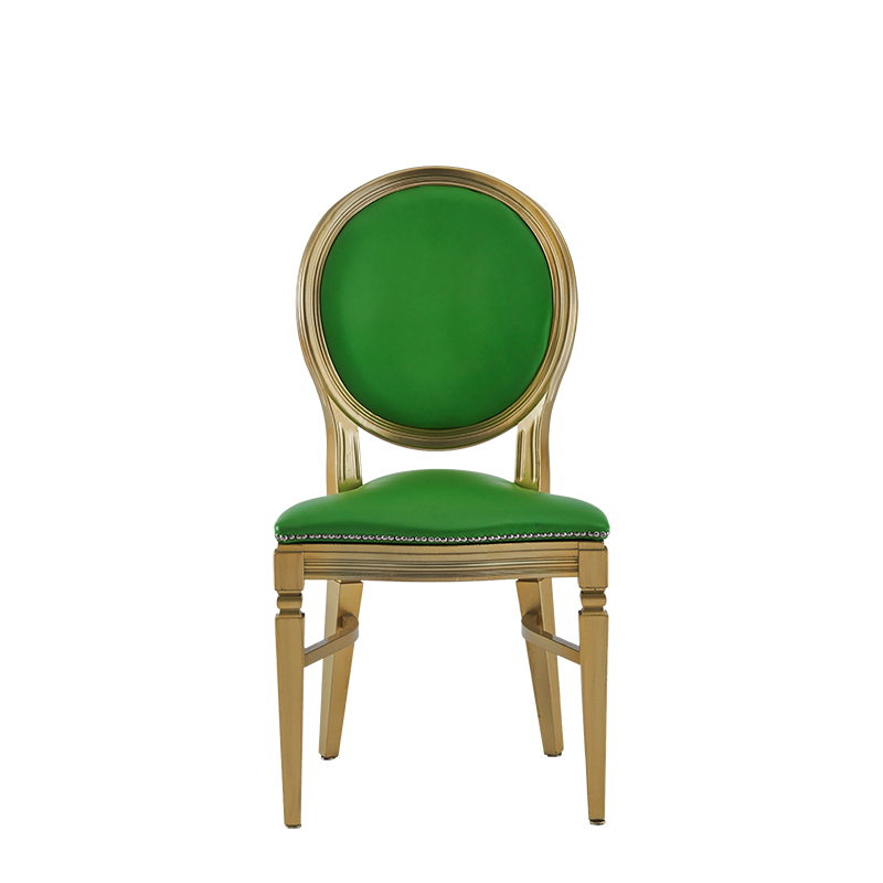Chandelle Chair in Gold with Green Seat Pad
