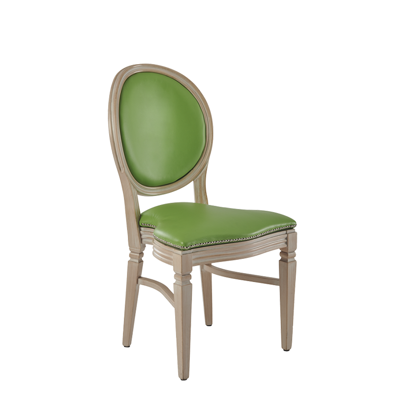 Chandelle Chair in Ivory with Green Seat Pad