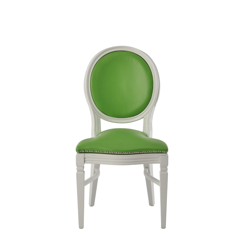Chandelle Chair in White with Green Seat Pad