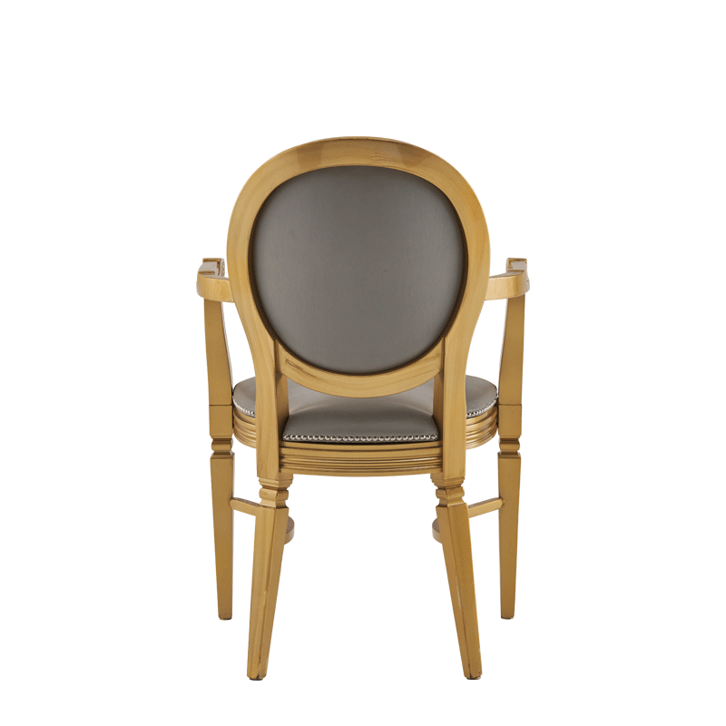 Chandelle Armchair in Gold with Grey Seat Pad
