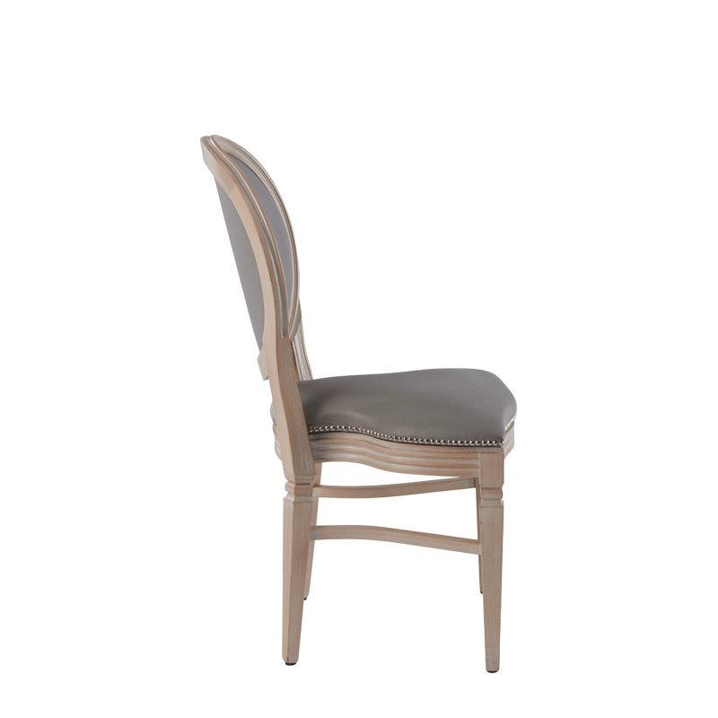 Chandelle Chair in Ivory with Grey Seat Pad