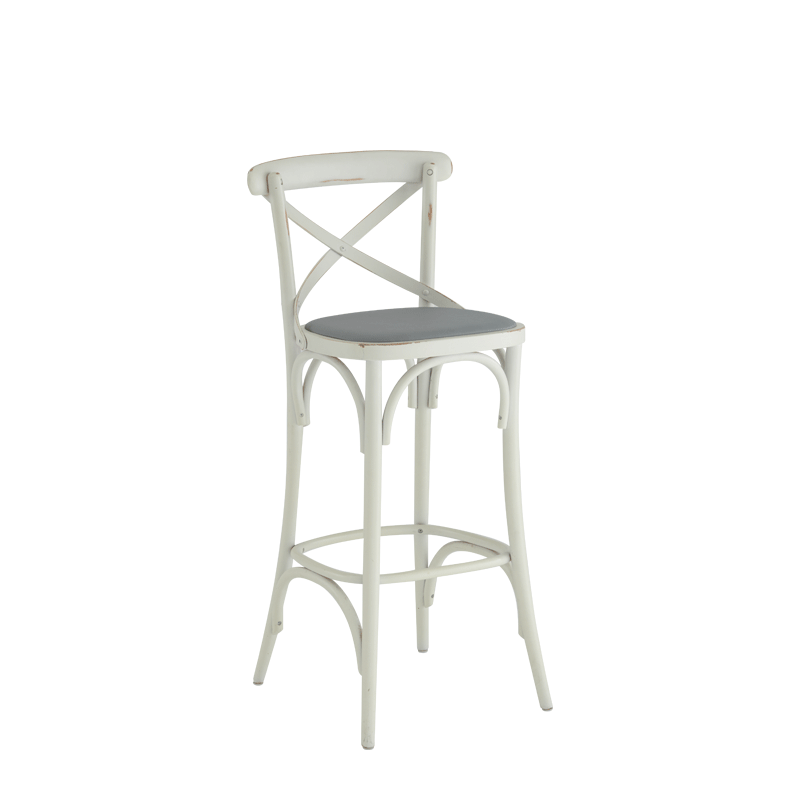 Coco Bar Stool White in with Grey Seat Pad