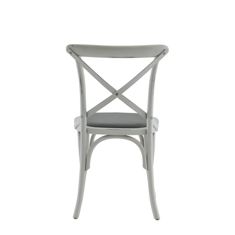 Coco Chair in White with Grey Seat Pad