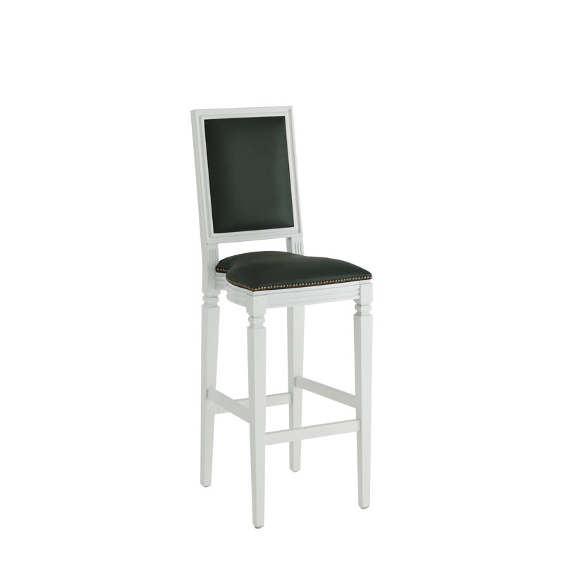 CKC Bar Stool in White with Hunter Green Seat Pad