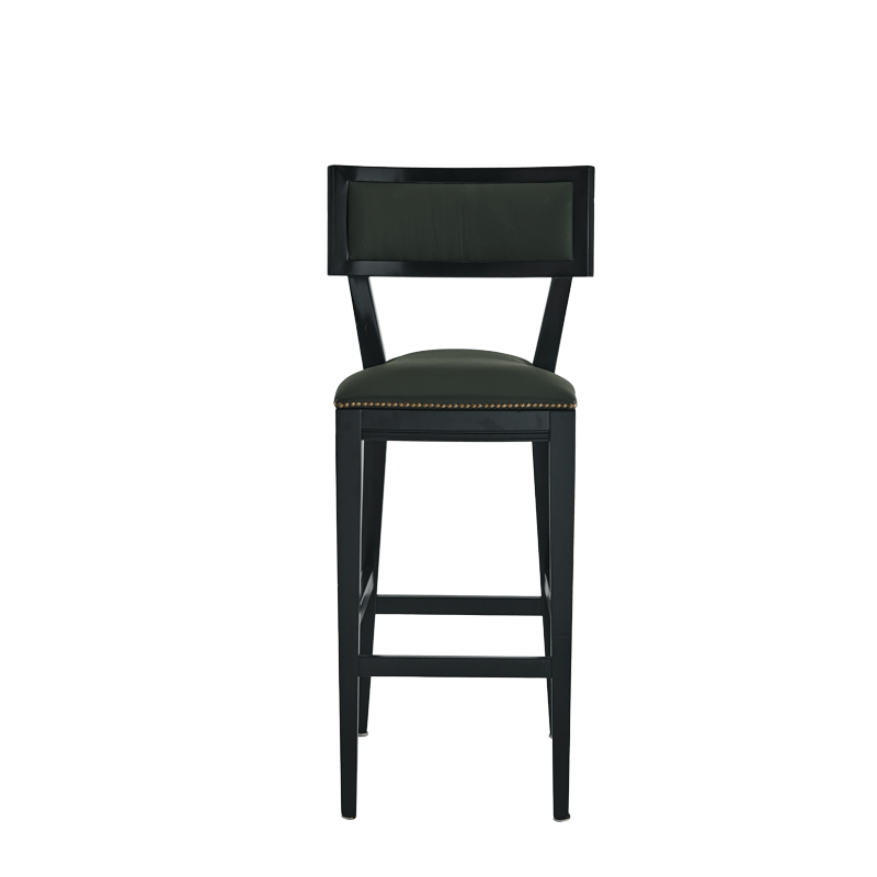 The Bogart Bar Stool in Black with Hunter Green Seat Pad