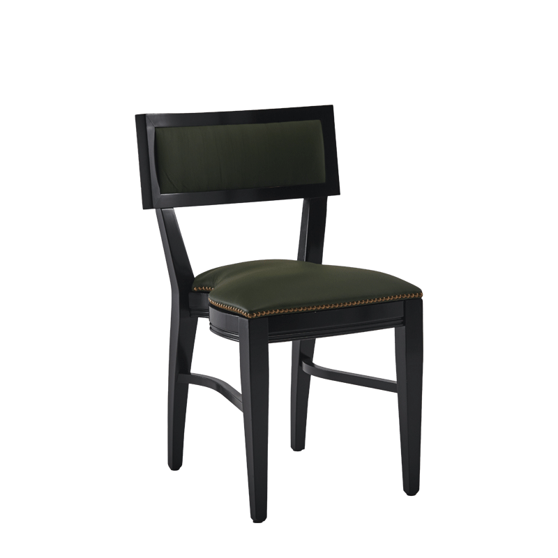 The Bogart Chair in Black with Hunter Green Seat Pad