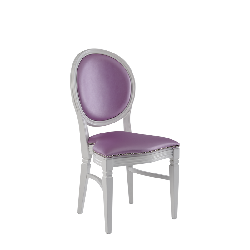 Chandelle Chair in White with Icy Pink Seat Pad