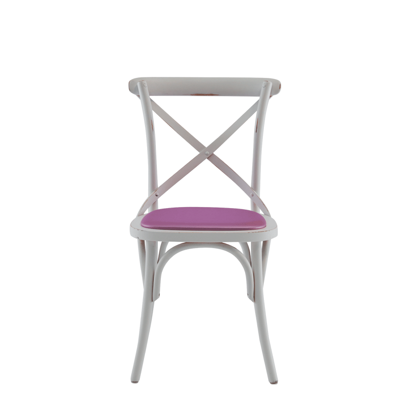 Coco Chair in White with Icy Pink Seat Pad