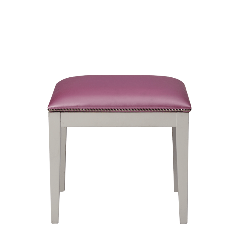 Divano Ottoman in White with Icy Pink Seat Pad