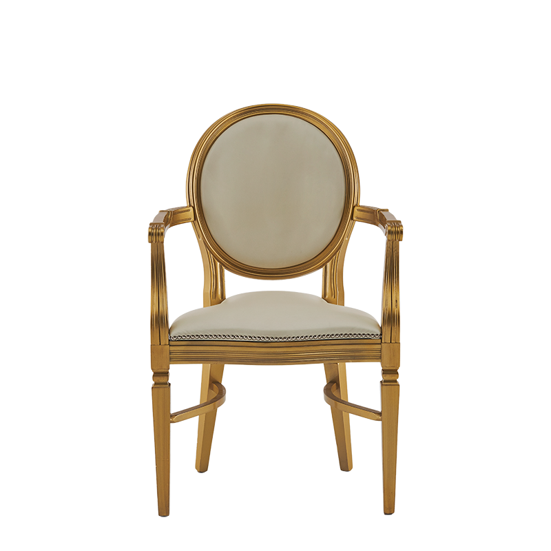 Chandelle Armchair in Gold with Ivory Seat Pad