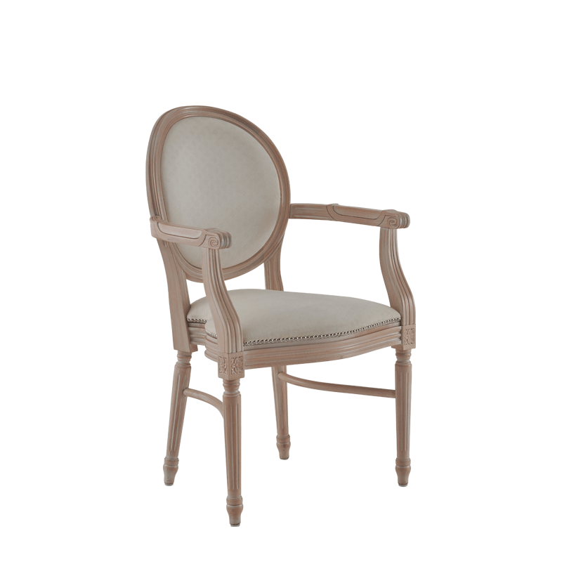 Chandelle Armchair in Ivory with Ivory Seat Pad