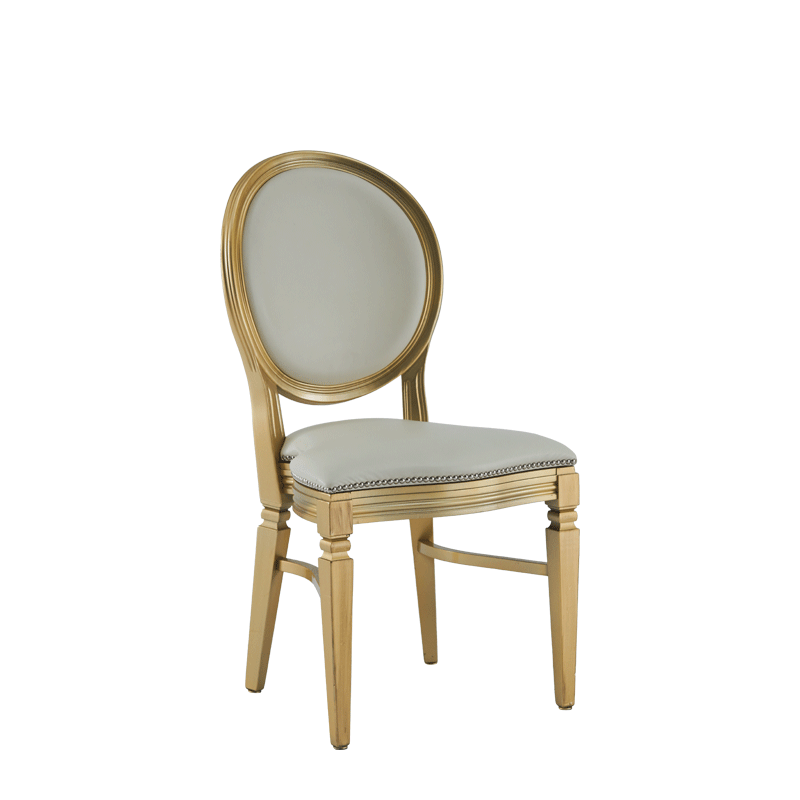 Chandelle Chair in Gold with Ivory Seat Pad