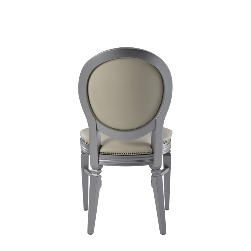 Chandelle Chair in Silver with Ivory Seat Pad