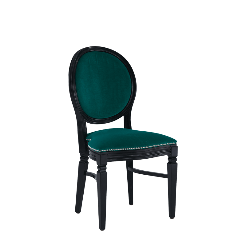 Chandelle Chair in Black with Jade Velvet Seat Pad