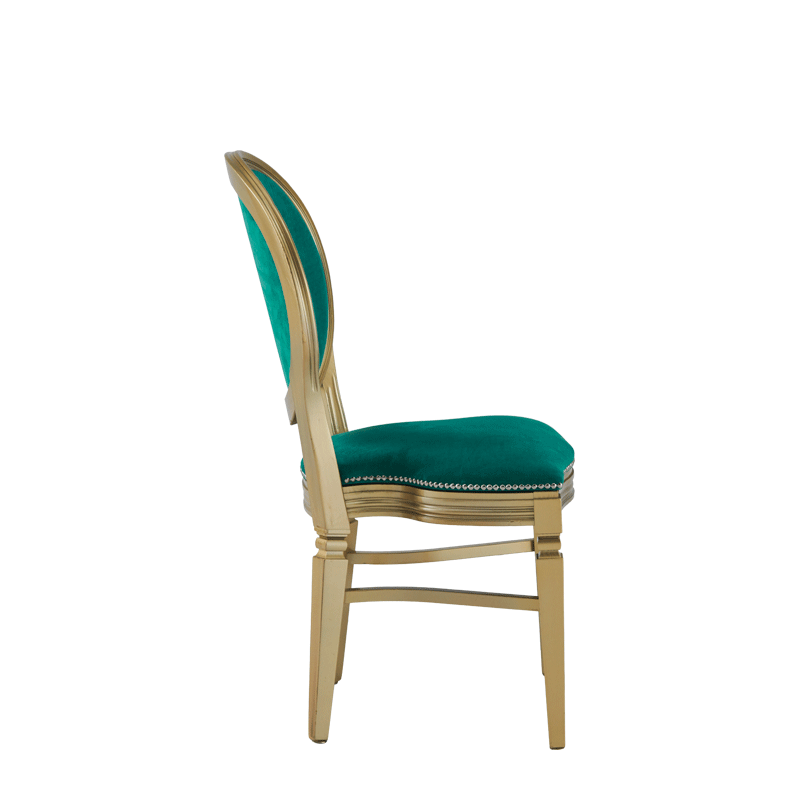 Chandelle Chair in Gold with Jade Velvet Seat Pad
