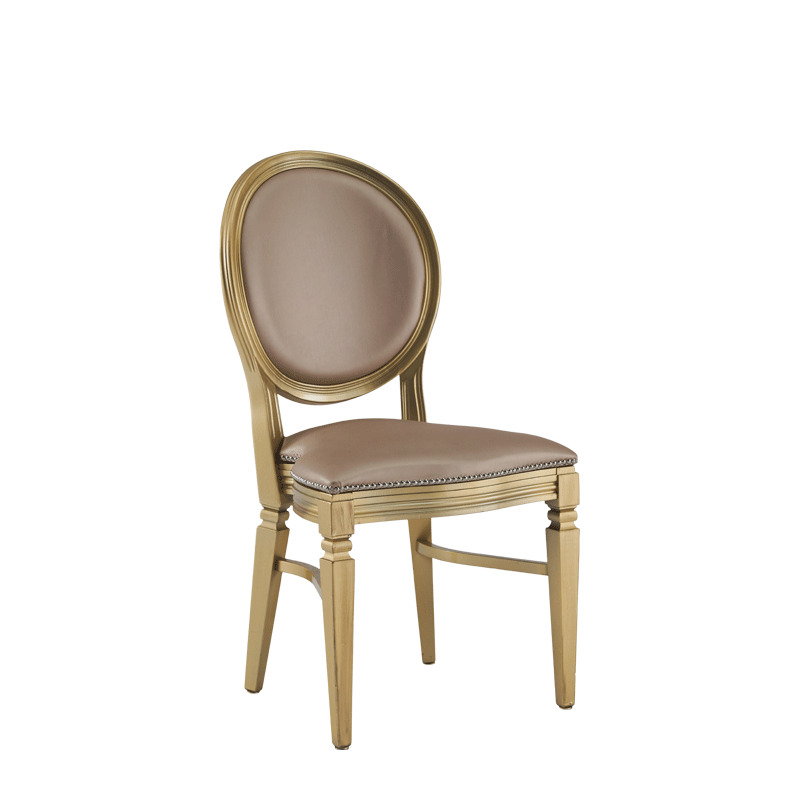 Chandelle Chair in Gold with Latte Seat Pad