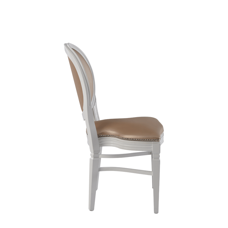 Chandelle Chair in White with Latte Seat Pad