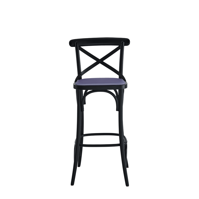 Coco Bar Stool in Black with Lavender Seat Pad