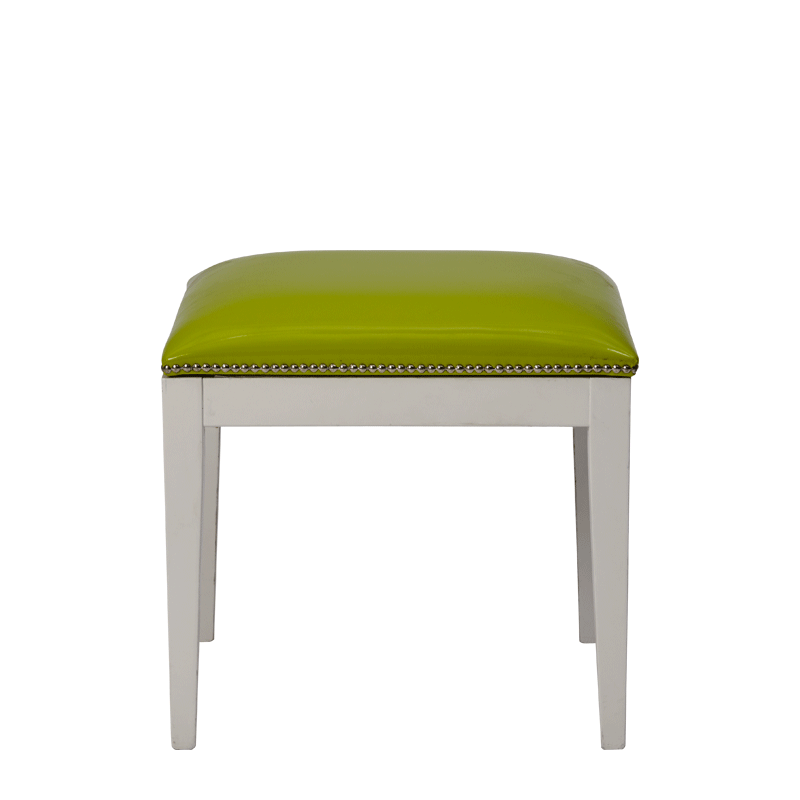 Divano Ottoman in White with Lime Seat Pad