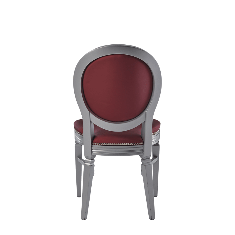Chandelle Chair in Silver with Merlot Seat Pad