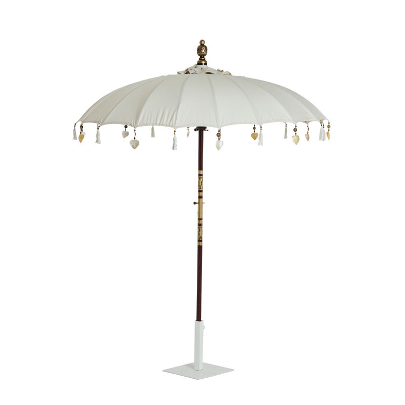 Garden Umbrella Cream with tassels and heart ornaments