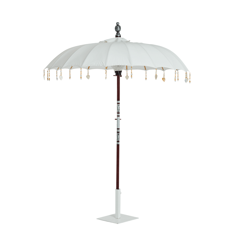 Garden Umbrella White with tassels and heart ornaments