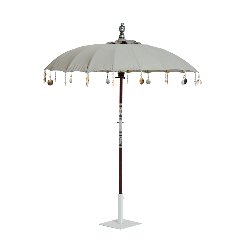 Garden Umbrella Oyster Grey with tassels and shell ornaments