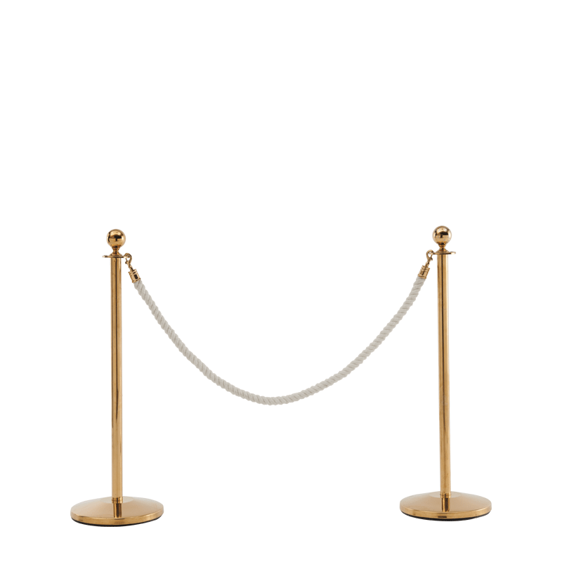 Stanchion in Gold Brass with White Rope