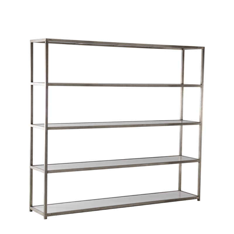 Unico Shelving Unit with Stainless Steel Frame and White Panels