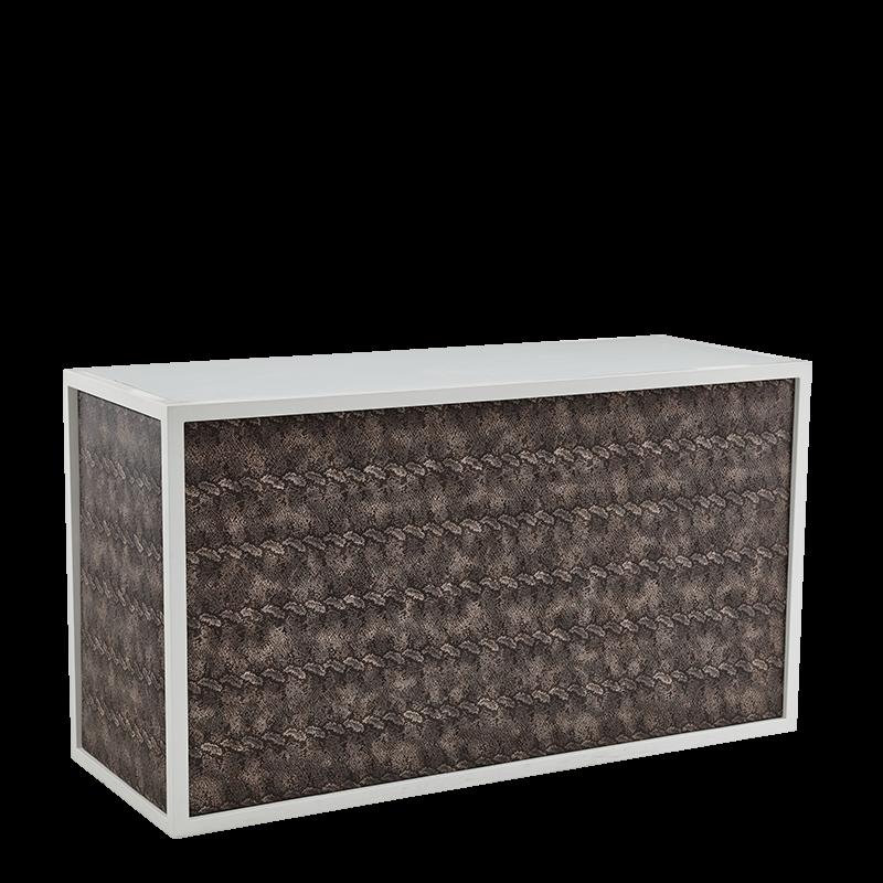 Unico Bar - White Frame - Taupe Snake Skin Upholstered Panels
