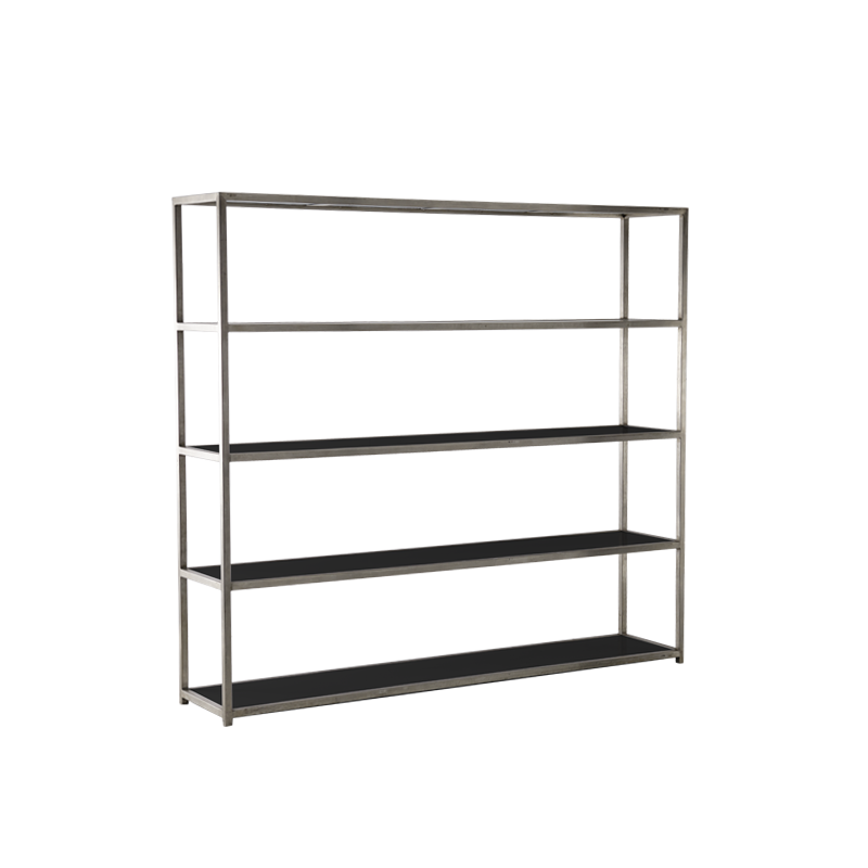 Unico Shelving Unit with Stainless Steel Frame in Black