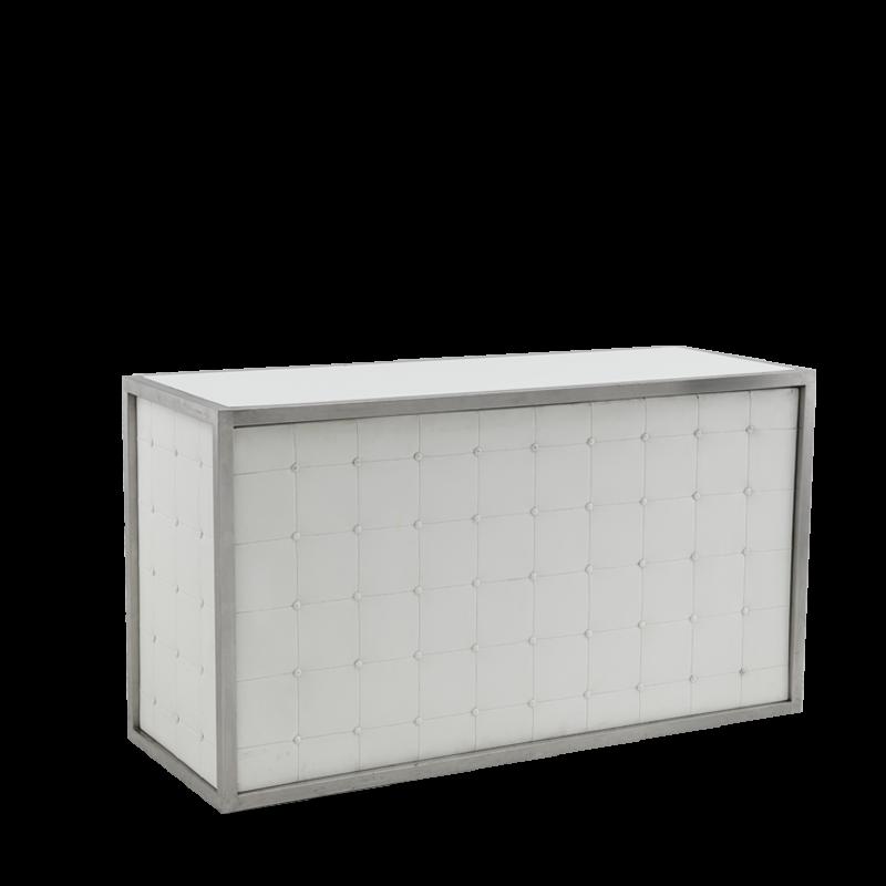 Unico Bar - Stainless Steel Frame - White Upholstered Panels