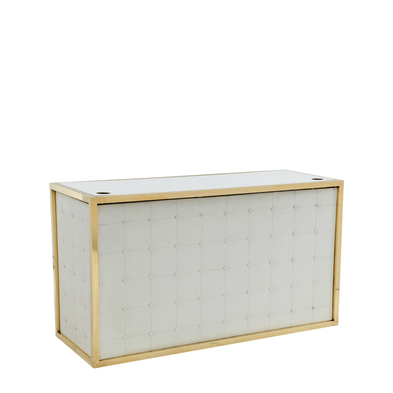 Unico DJ Booth with Gold Frame and White Upholstered Panels