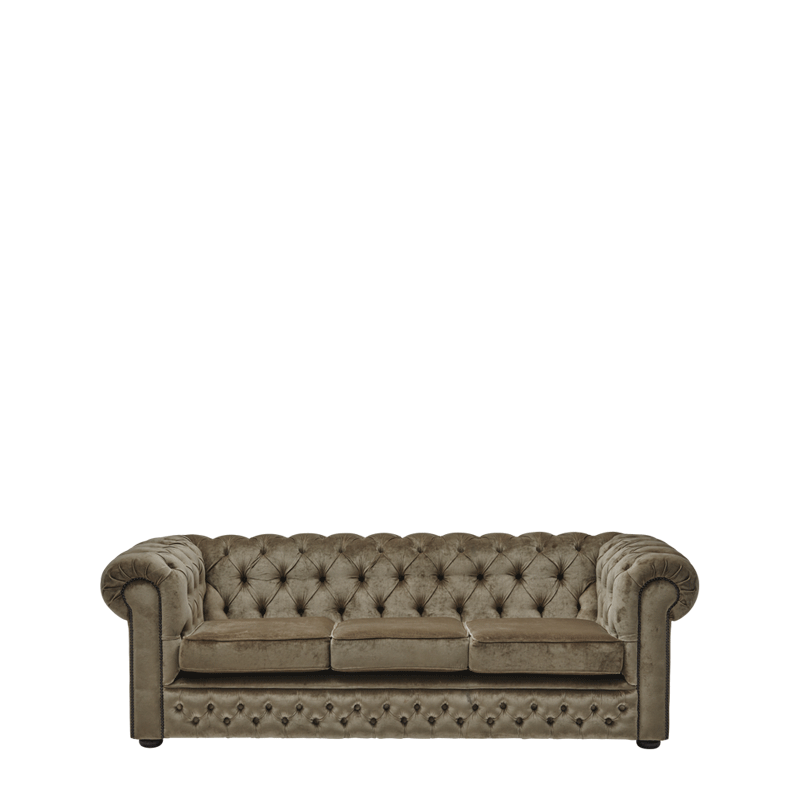 Chesterfield Carlyle Sofa 7ft in Velvet Taupe